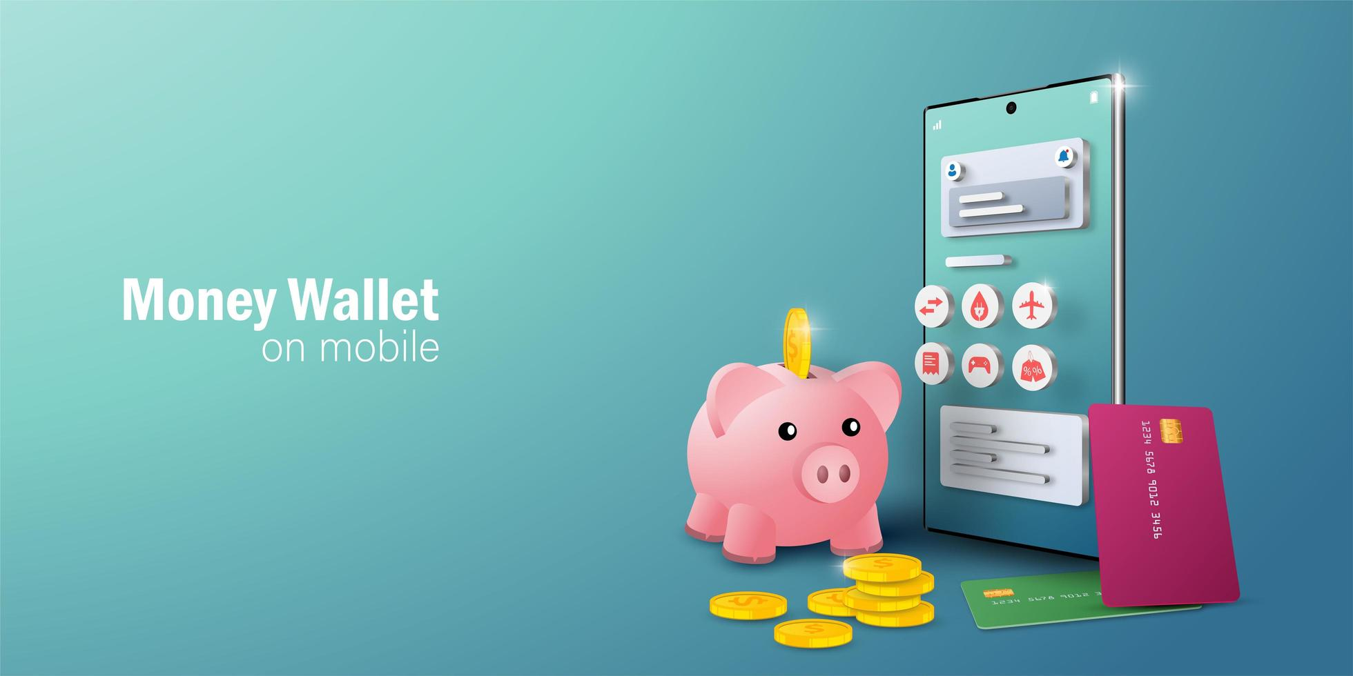 E-wallet application on mobile smartphone for online transaction and billing vector
