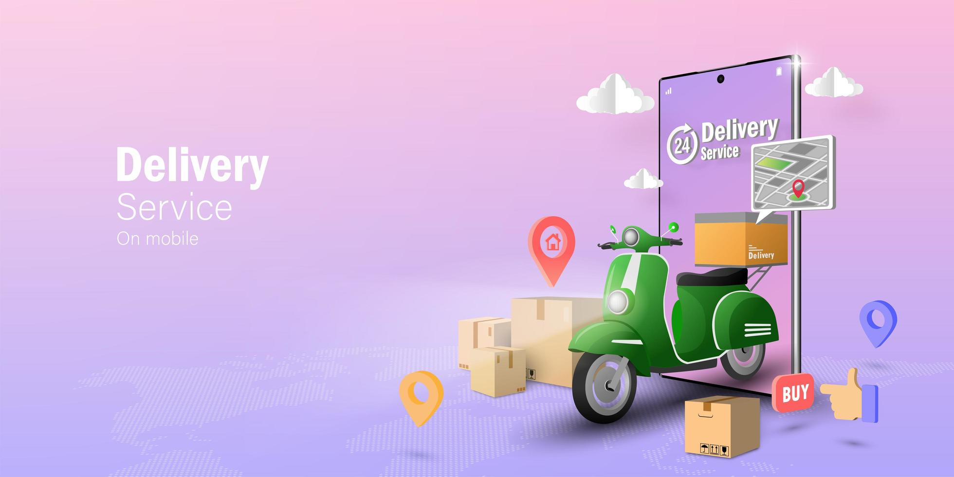 Transpotation or food delivery by scooter vector