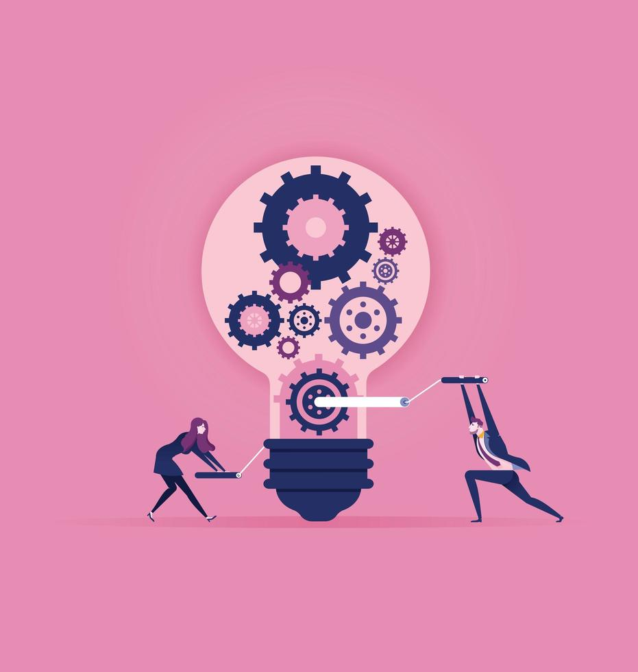 Creating ideas and teamwork concept design vector