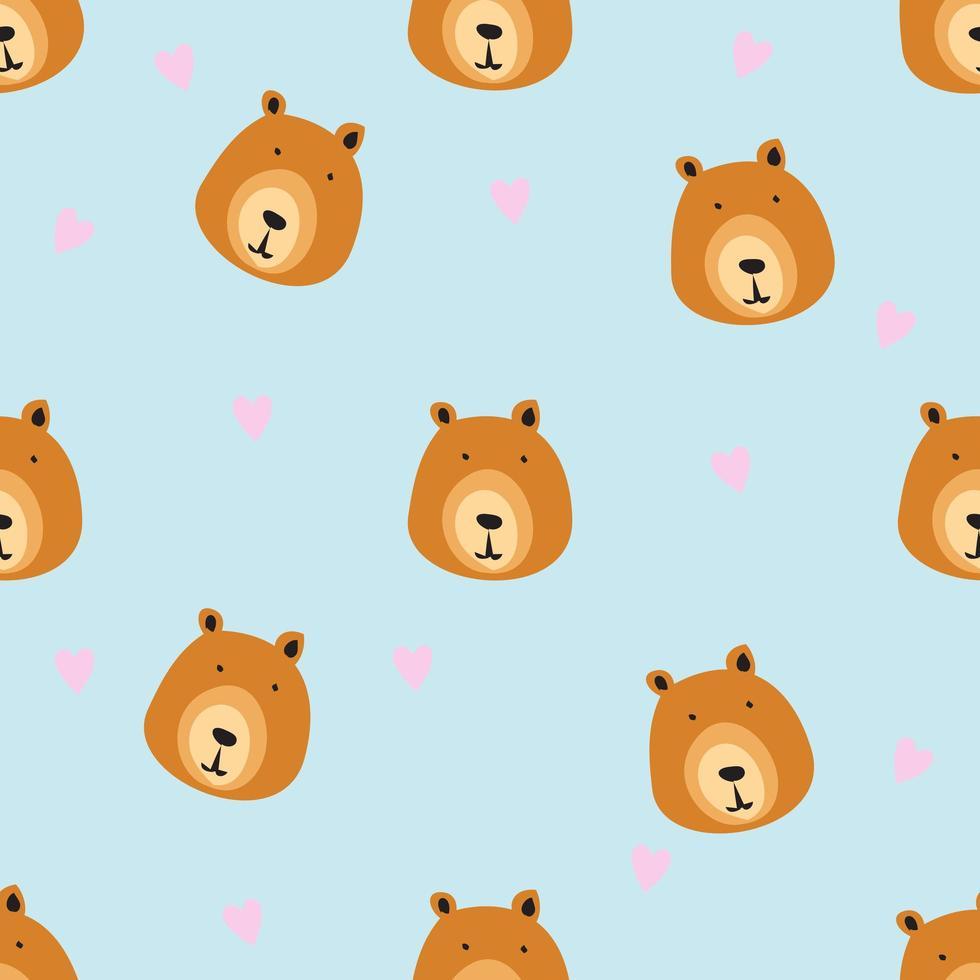 padrão de cabeça de urso desenhado de mão vetor