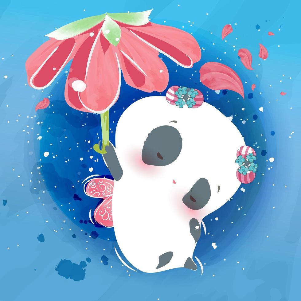 Little panda animal and sky flower vector