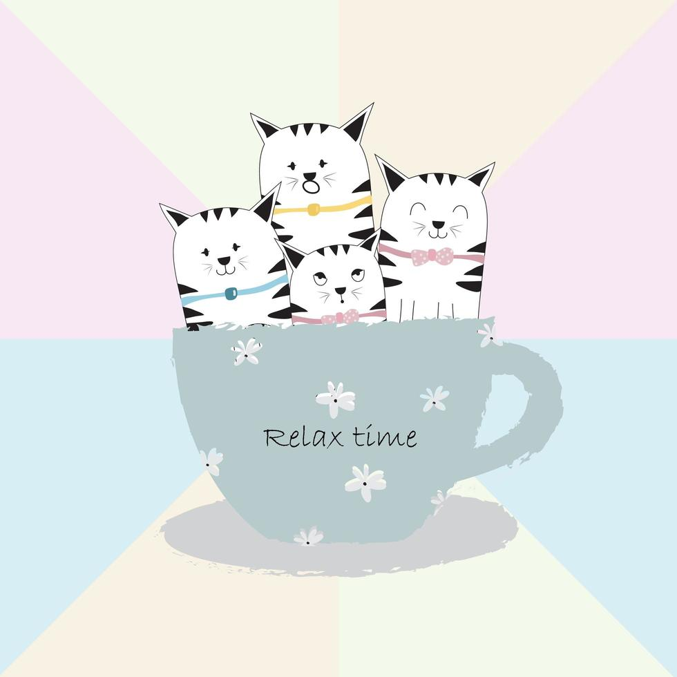 Cats in Big Coffee Cup vector