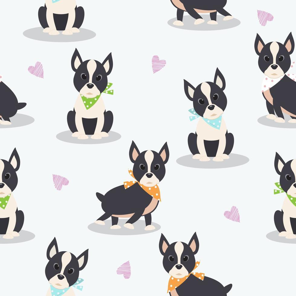 Seamless Boston Terrier Pattern vector