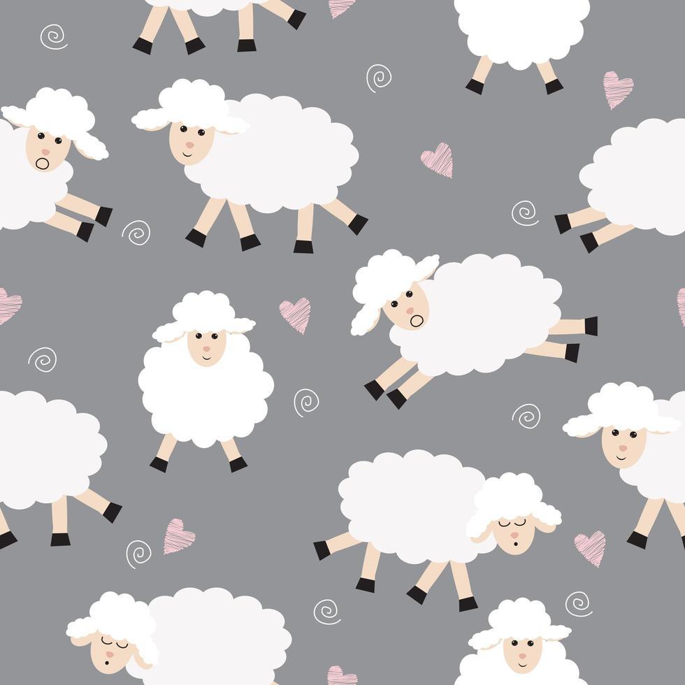 padrão de ovelhas sem costura na cinza vetor
