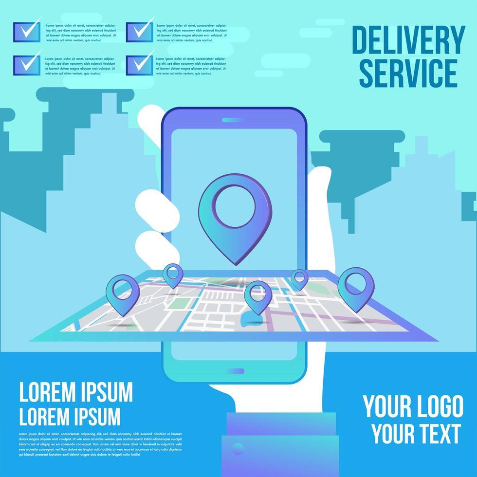 entrega on-line de compras em design plano móvel com serviço de conceito vetor