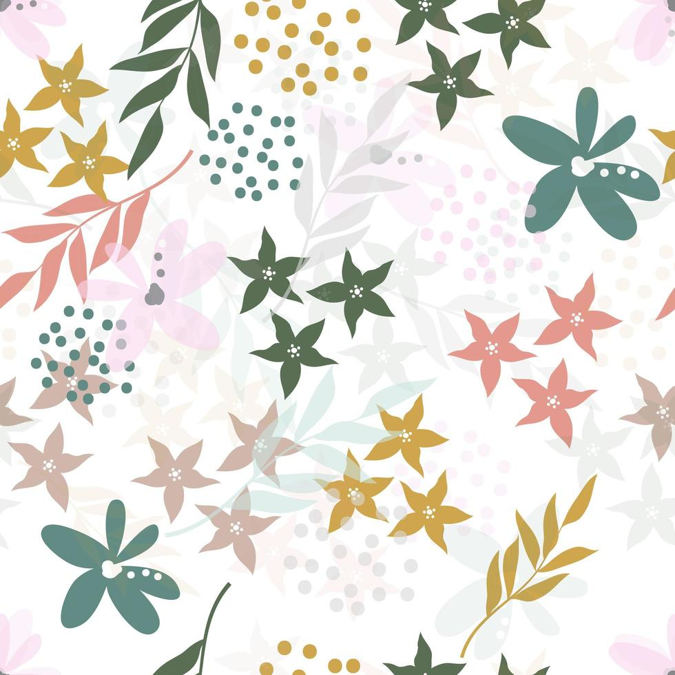 Abstract Pastel Floral and Leaves Pattern vector