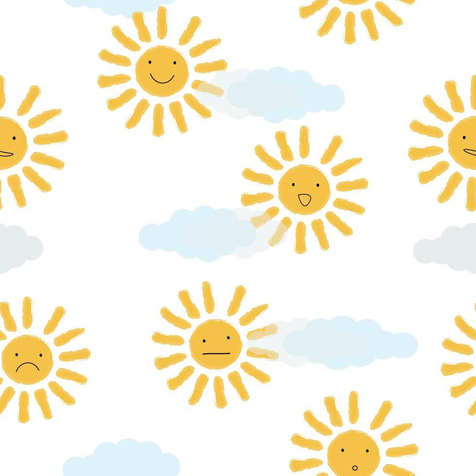 soles amarillos en el fondo de las nubes vector