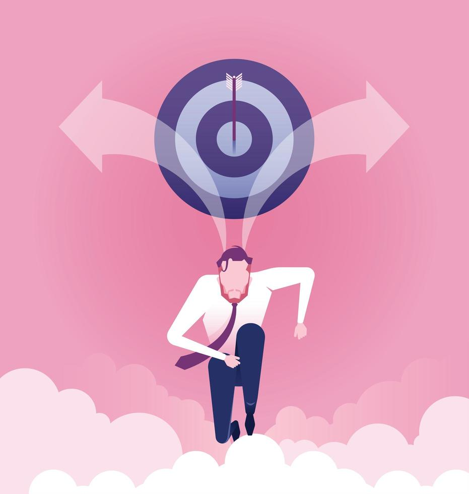 Successful. Businessman run to target. Concept of achievement vector