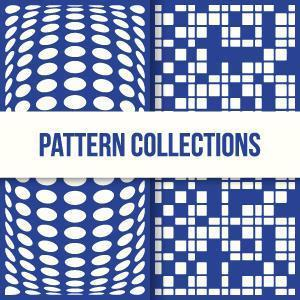 Trendy 3d Square and Circle Shaped Pattern Designs vector