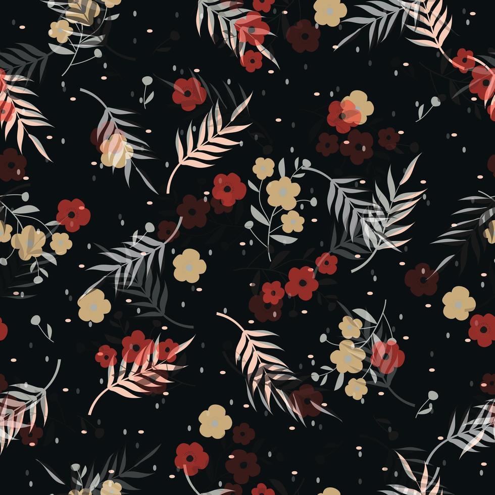 teste padrão floral em fundo preto vetor