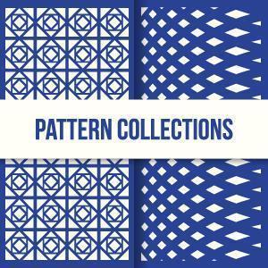 conjunto de dos patrones de formas sin costuras en diseño plano vector