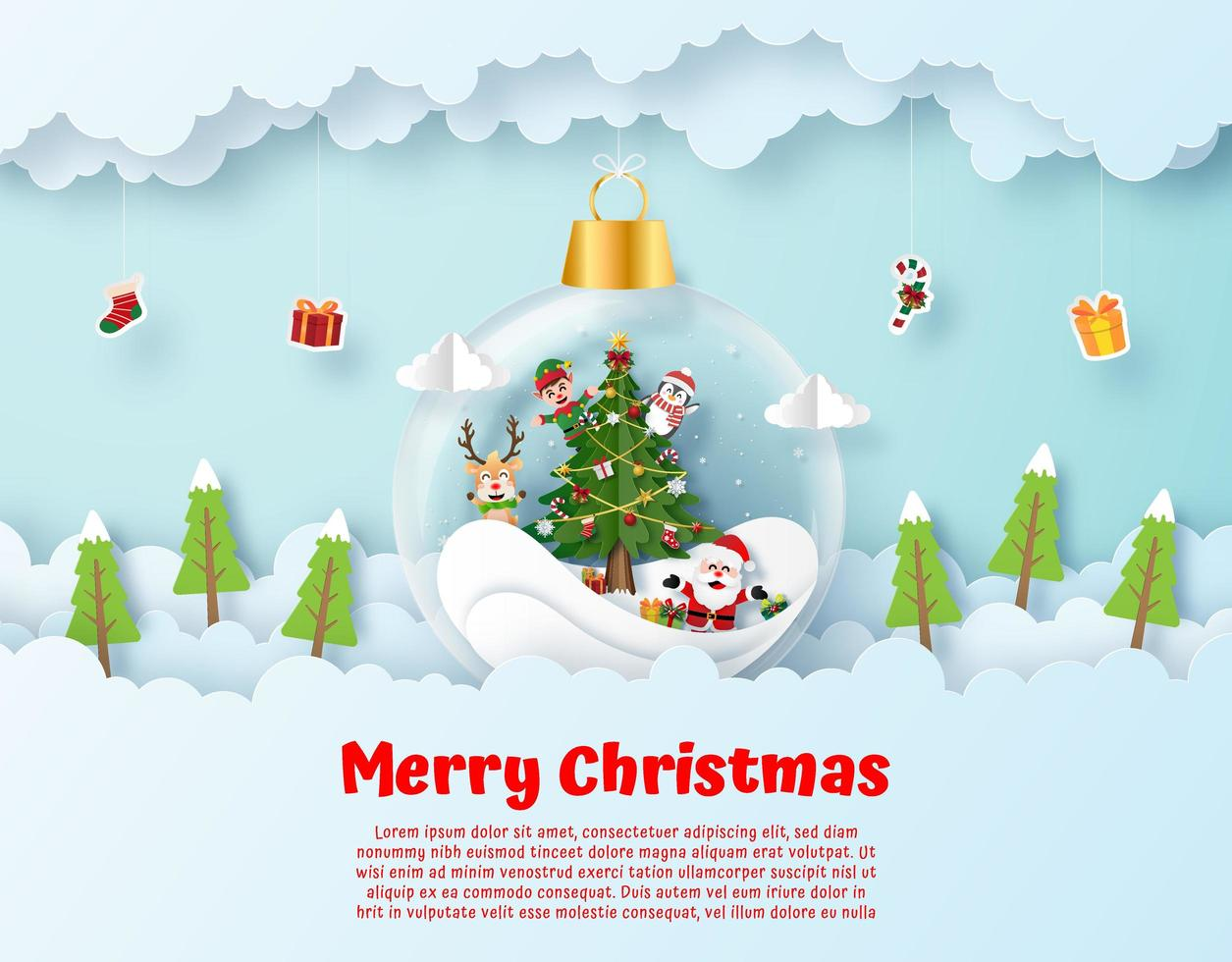 Origami paper art of Santa Claus and friend in hanging in ornament vector