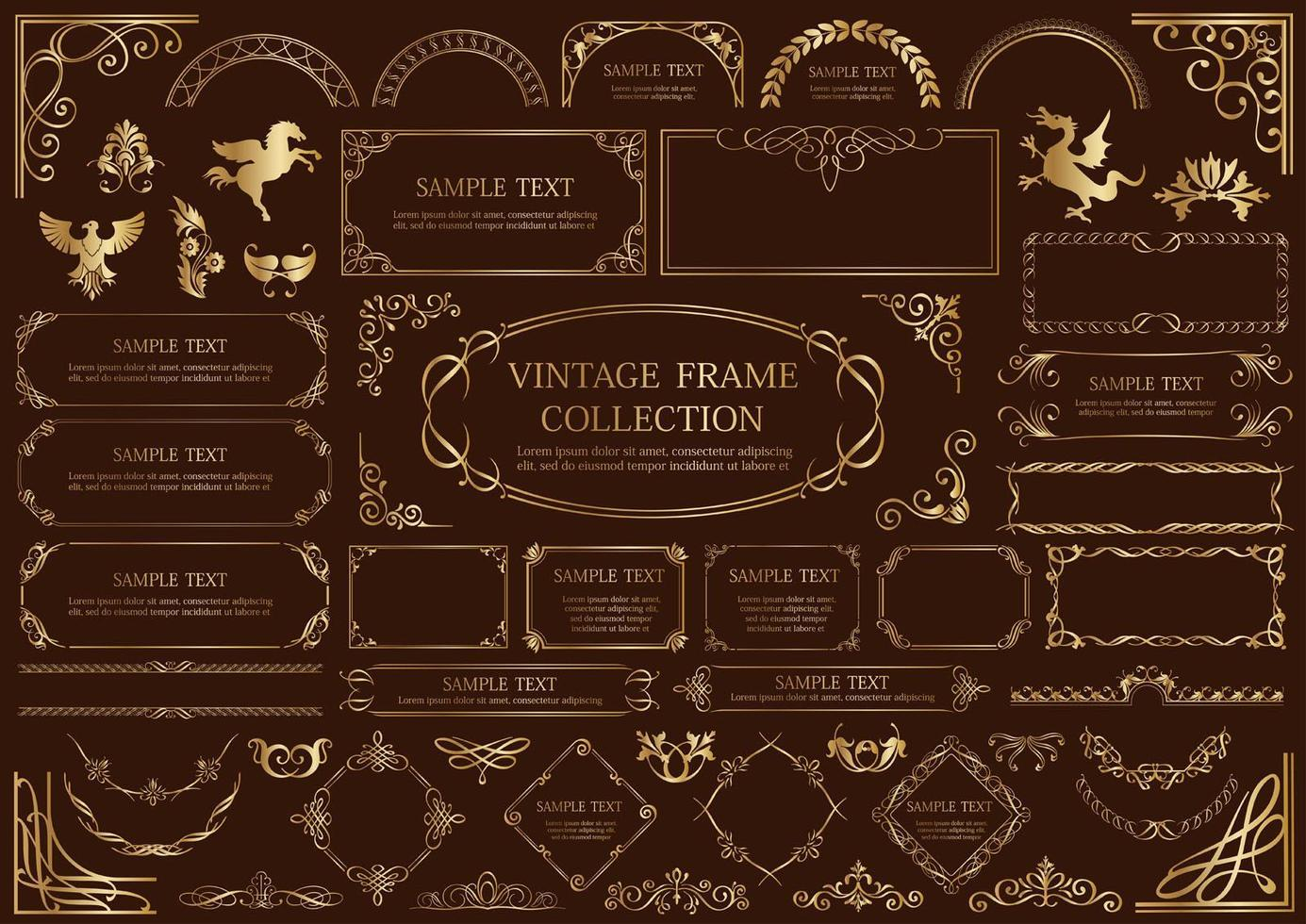 Gold Luxury Style Vintage Frame Set Isolated On A Dark Background vector