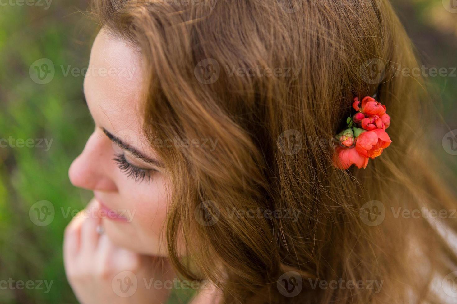 Bride in the spring garden photo