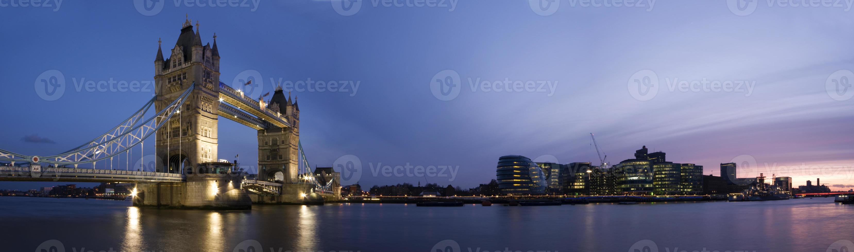 Central London Panorama at sunset. (Tower Bridge, City Hall) photo