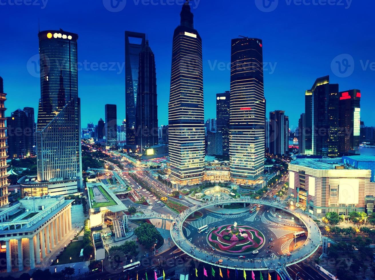 shanghai night view from the oriental pearl tower photo