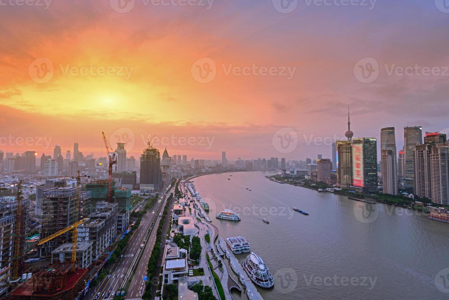 modern city at sunrise,Shanghai skyline photo