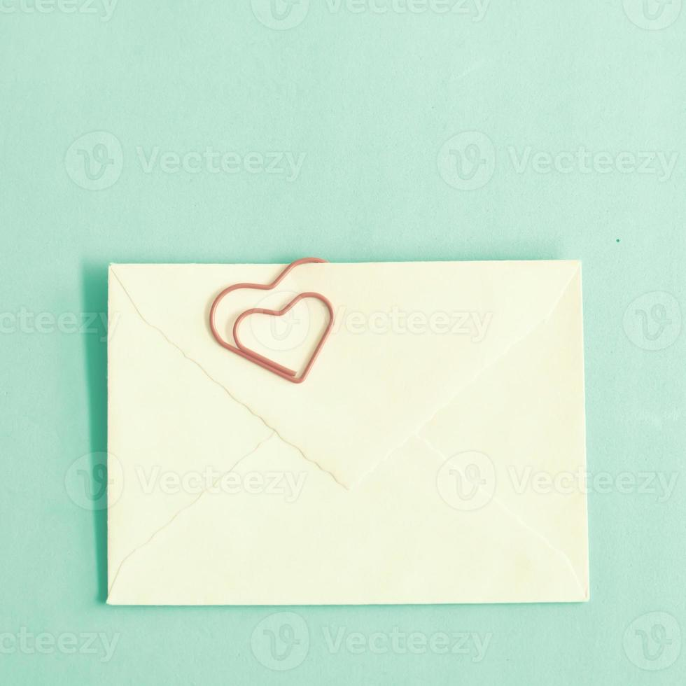 Air Mail Envelope with heart-shaped clip photo
