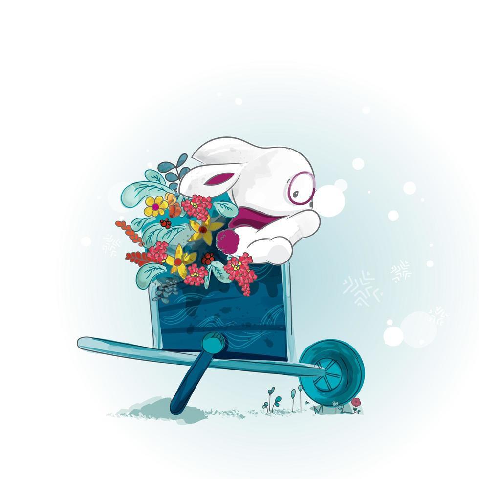 conejo en un carro de flores vector