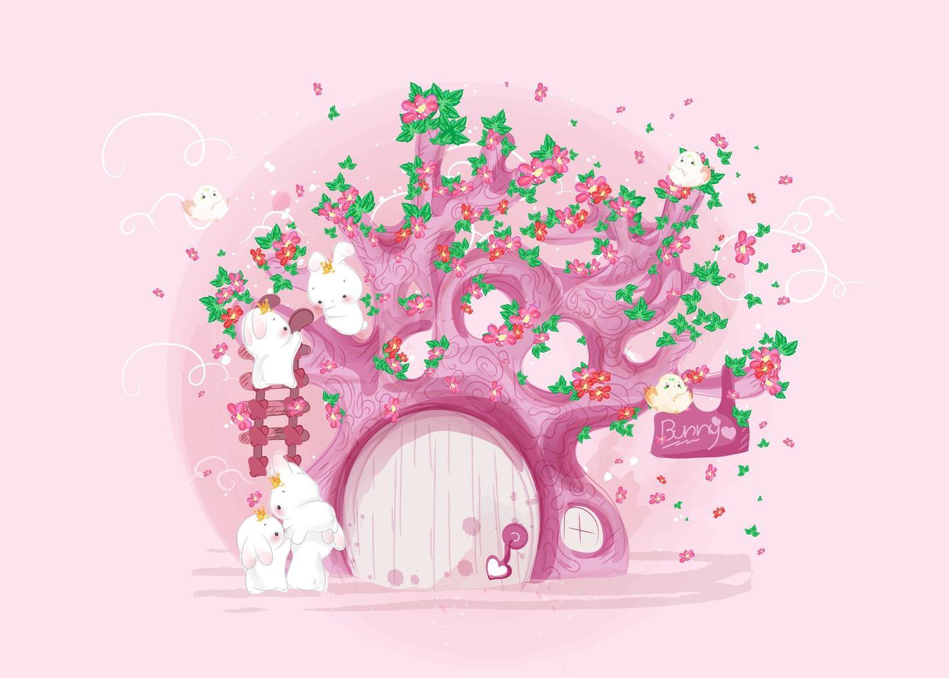 conejo y árbol rosado vector