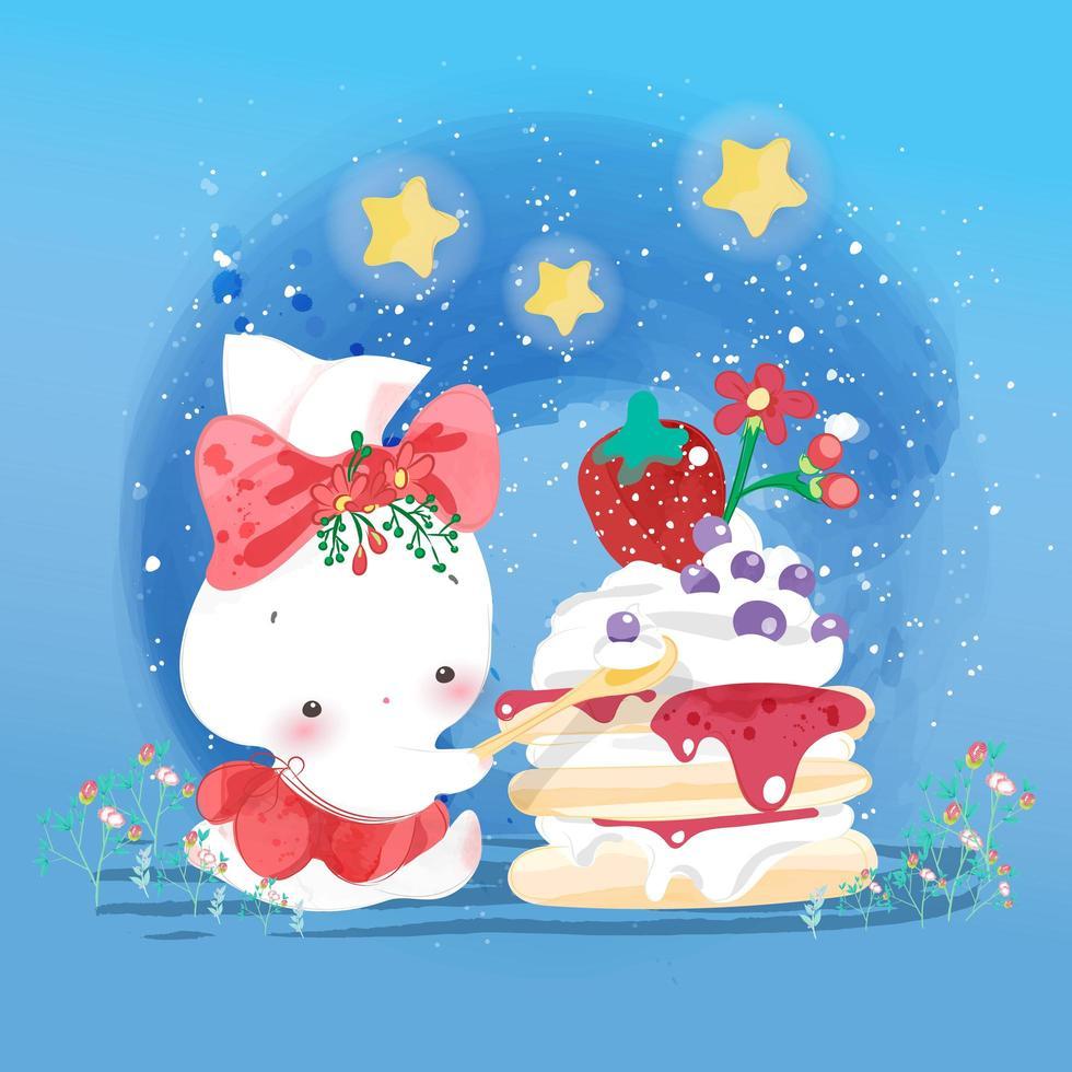 Rabbit eating strawberry cake vector