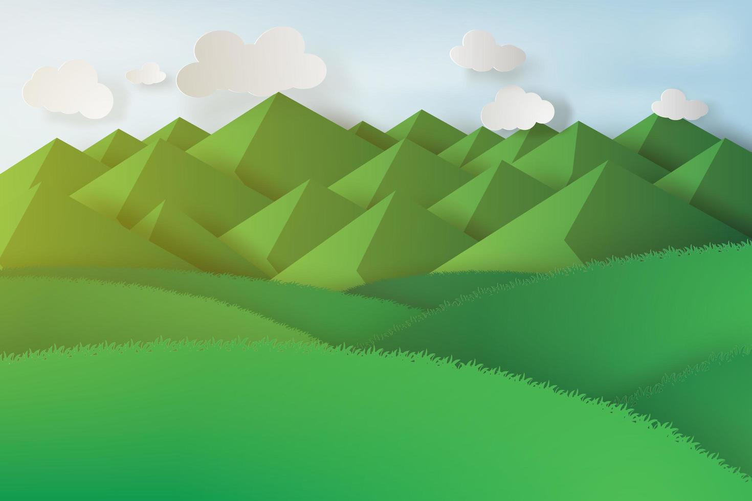 Paper Art Mountain Landscape  vector