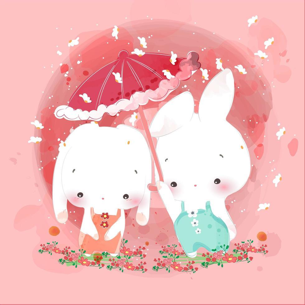 amantes de los conejos con paraguas rosa vector