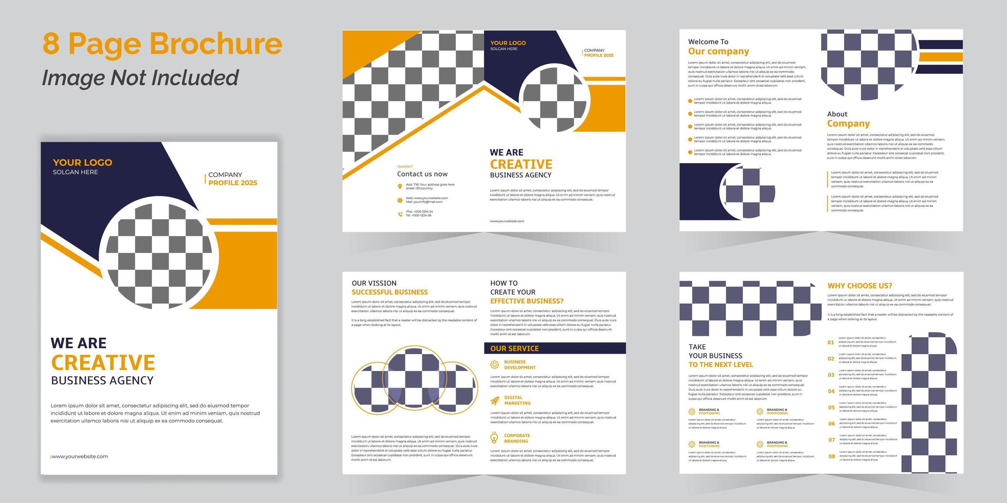 Business bi-fold brochure template collection with 8 pages vector