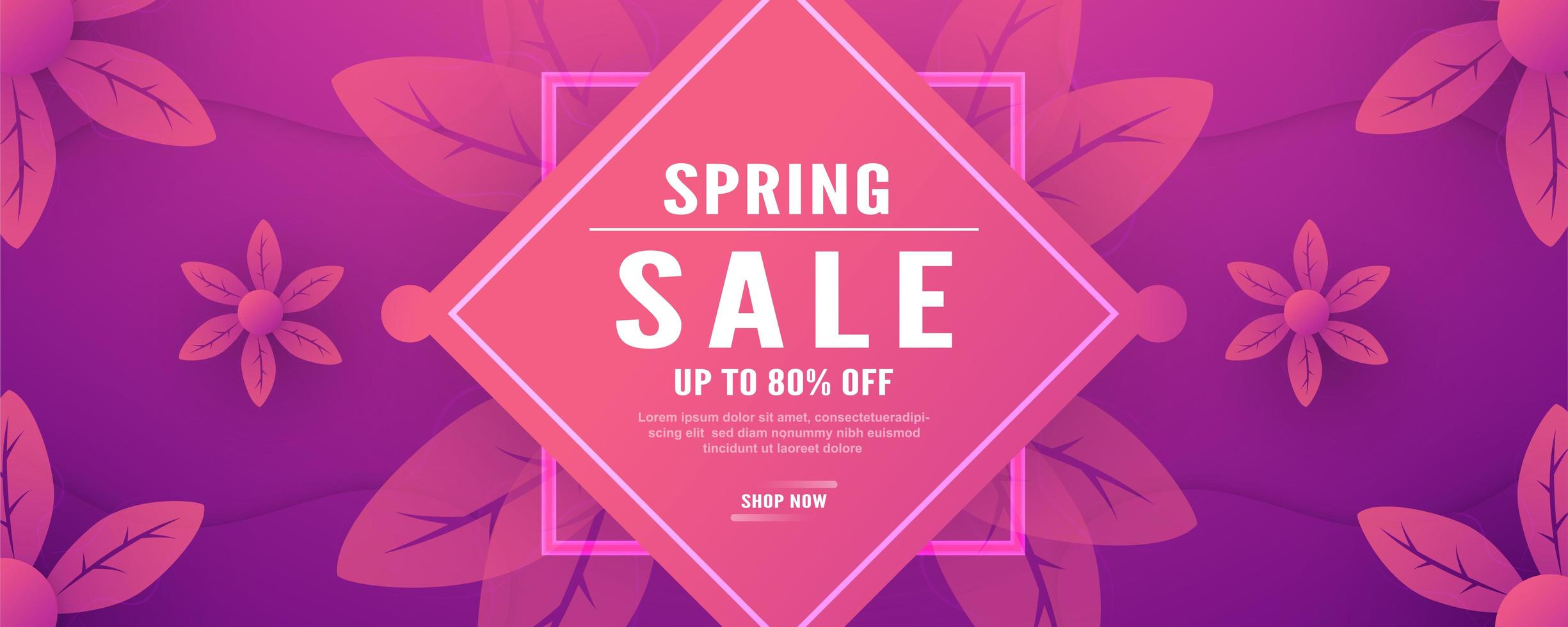 Pink and Purple Floral Spring Sales Banner  vector