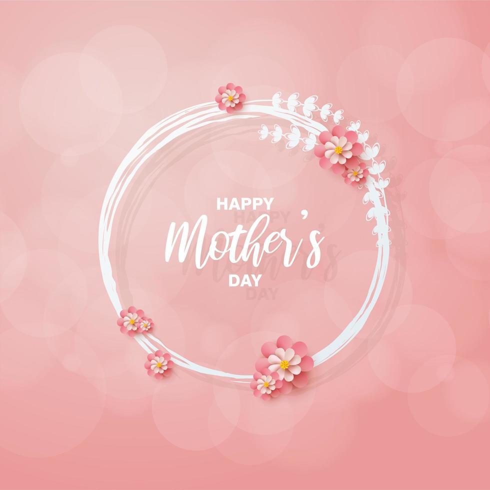 círculo floral del día de la madre vector