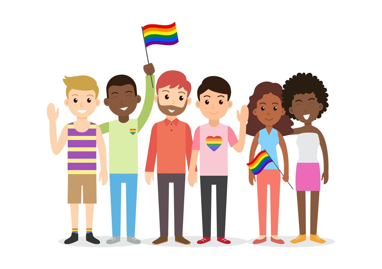 Grupo de personas LGBT en estilo de dibujos animados vector
