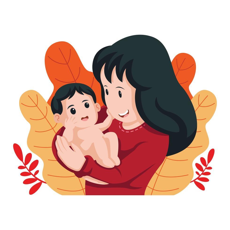 heureux, mère, tenue, bébé, conception vecteur