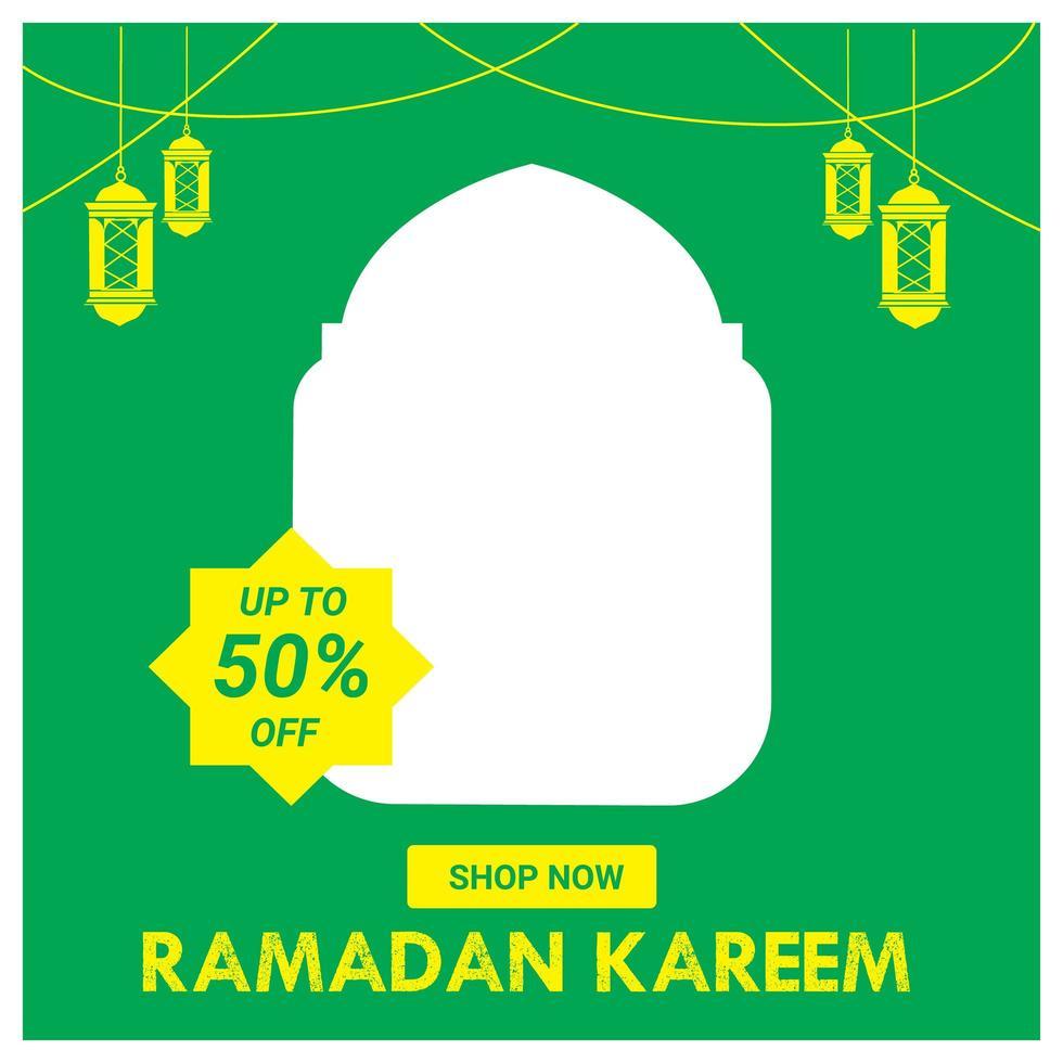 Ramadán venta publicación de redes sociales verde y amarillo vector