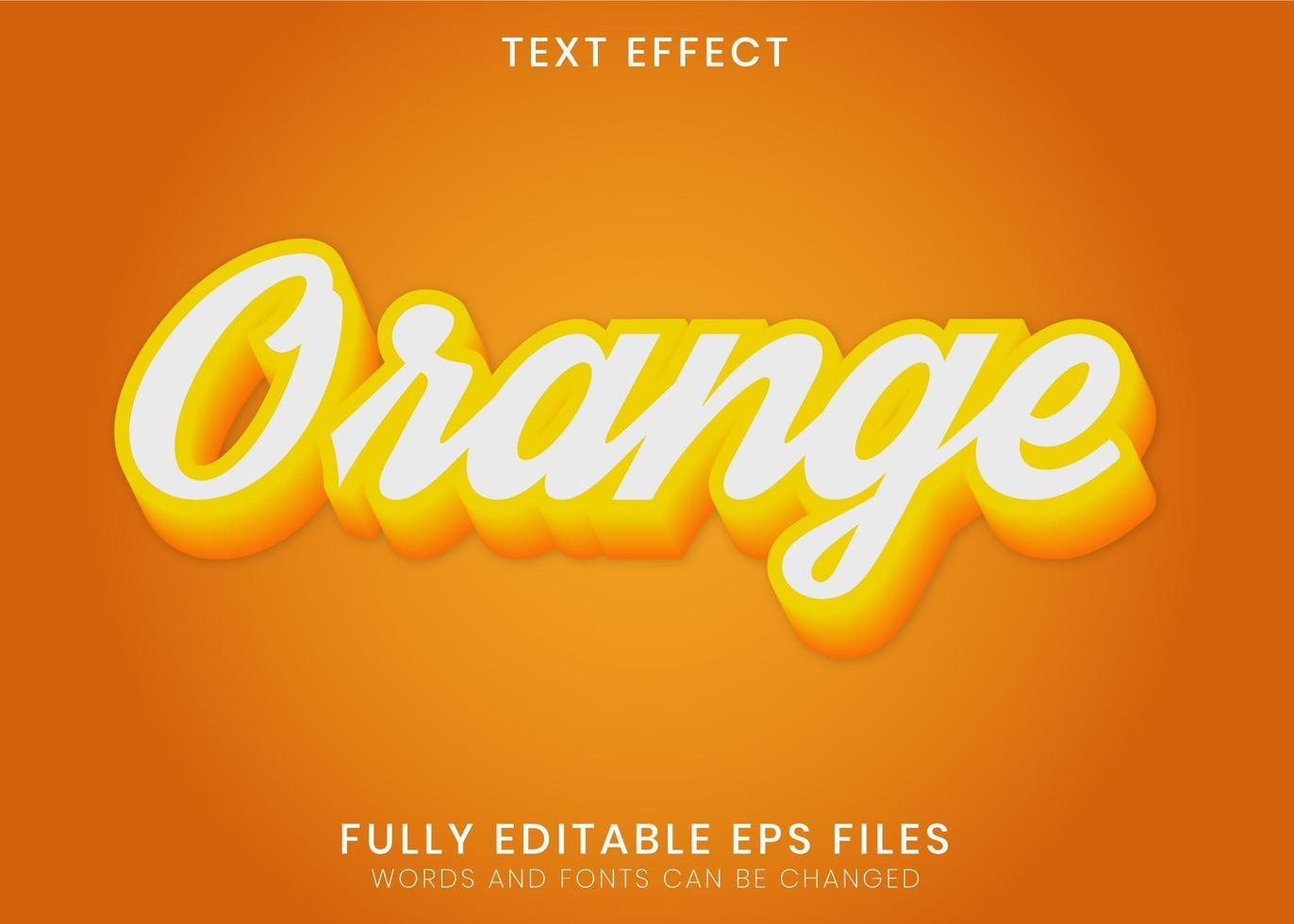 effetto di testo 3d arancione vettore