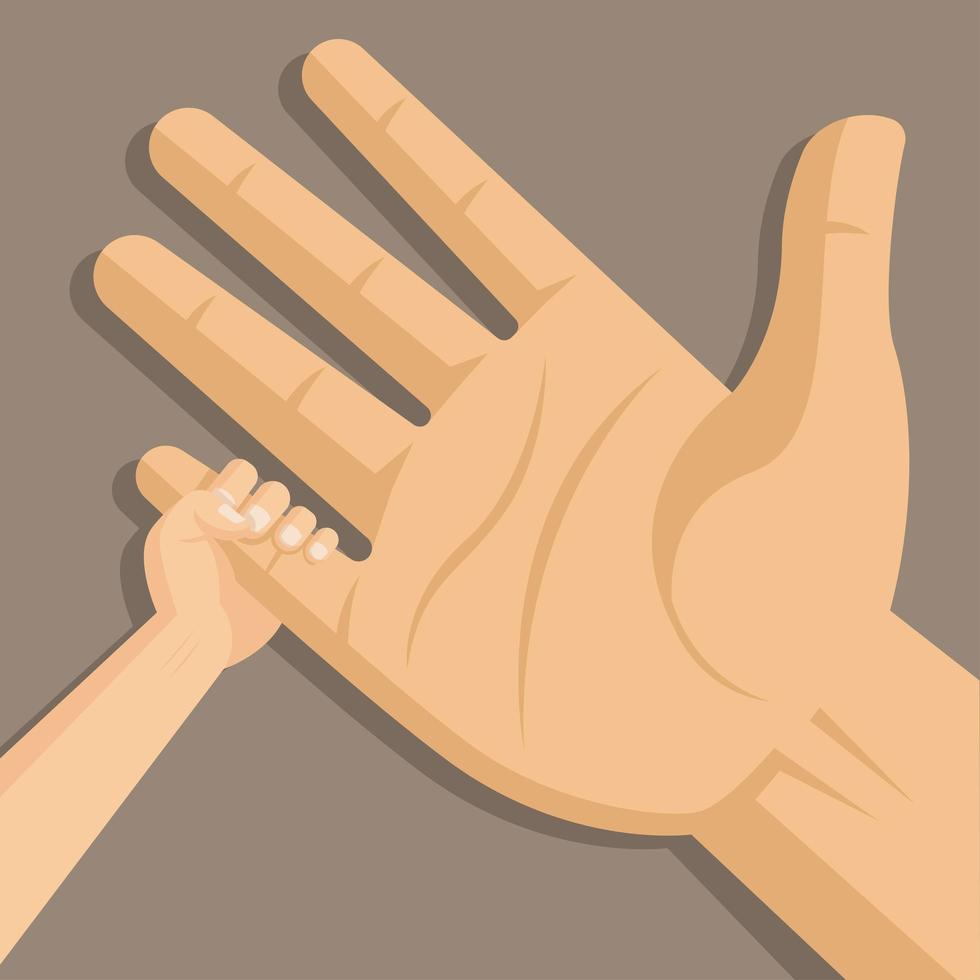 Father and Child Hand in Hand  vector