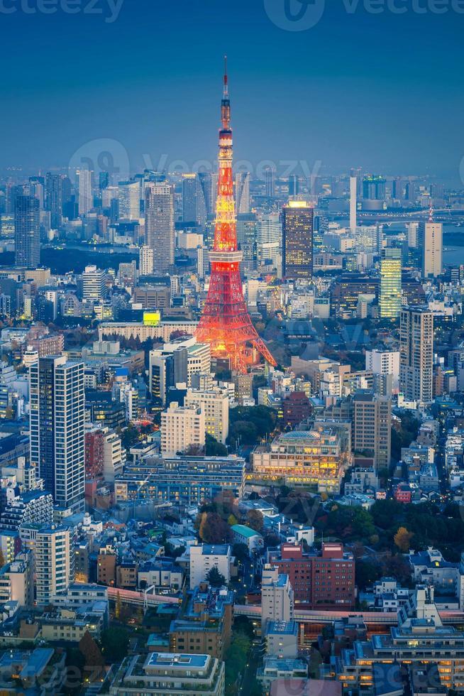 Horizonte del paisaje urbano de Tokio con la torre de Tokio en la noche, Japón foto