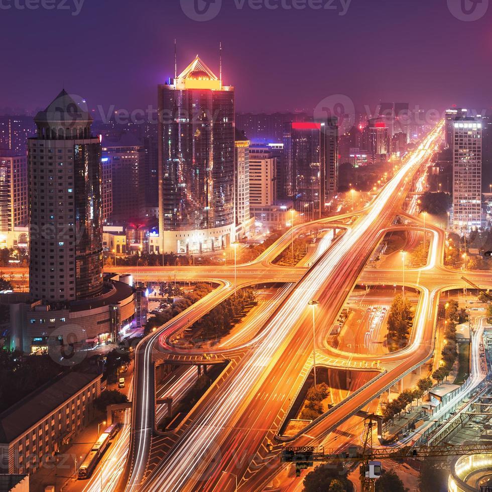 beijing cbd skyline puesta de sol, noche foto