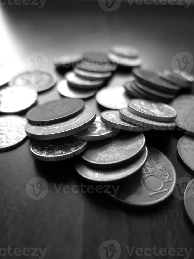 Coins on the table photo