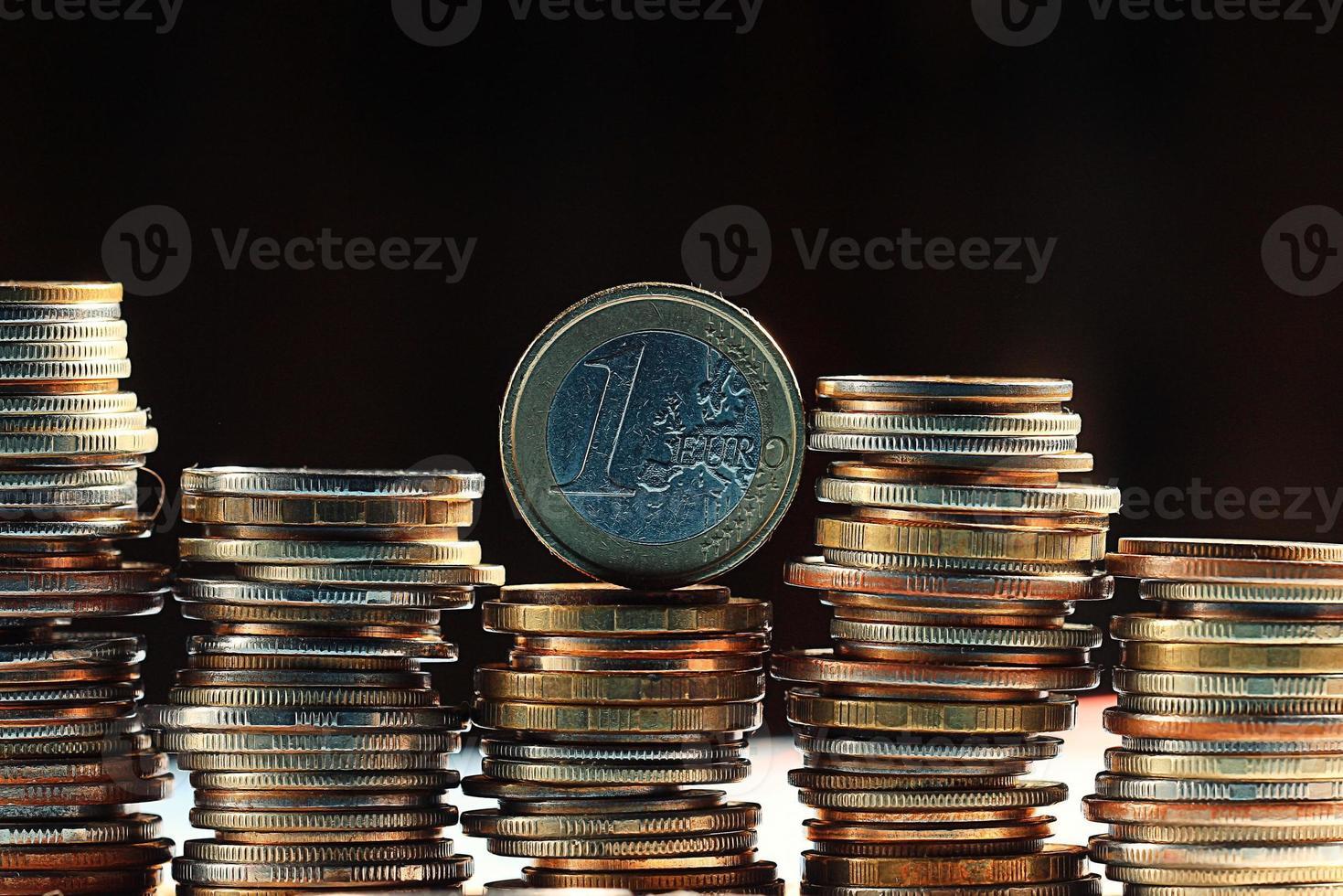 stacks of coins concept dollars euro dollar exchange rate economics photo
