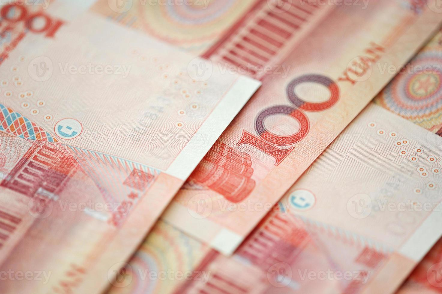 Yuan notes from China's currency. Chinese banknotes photo