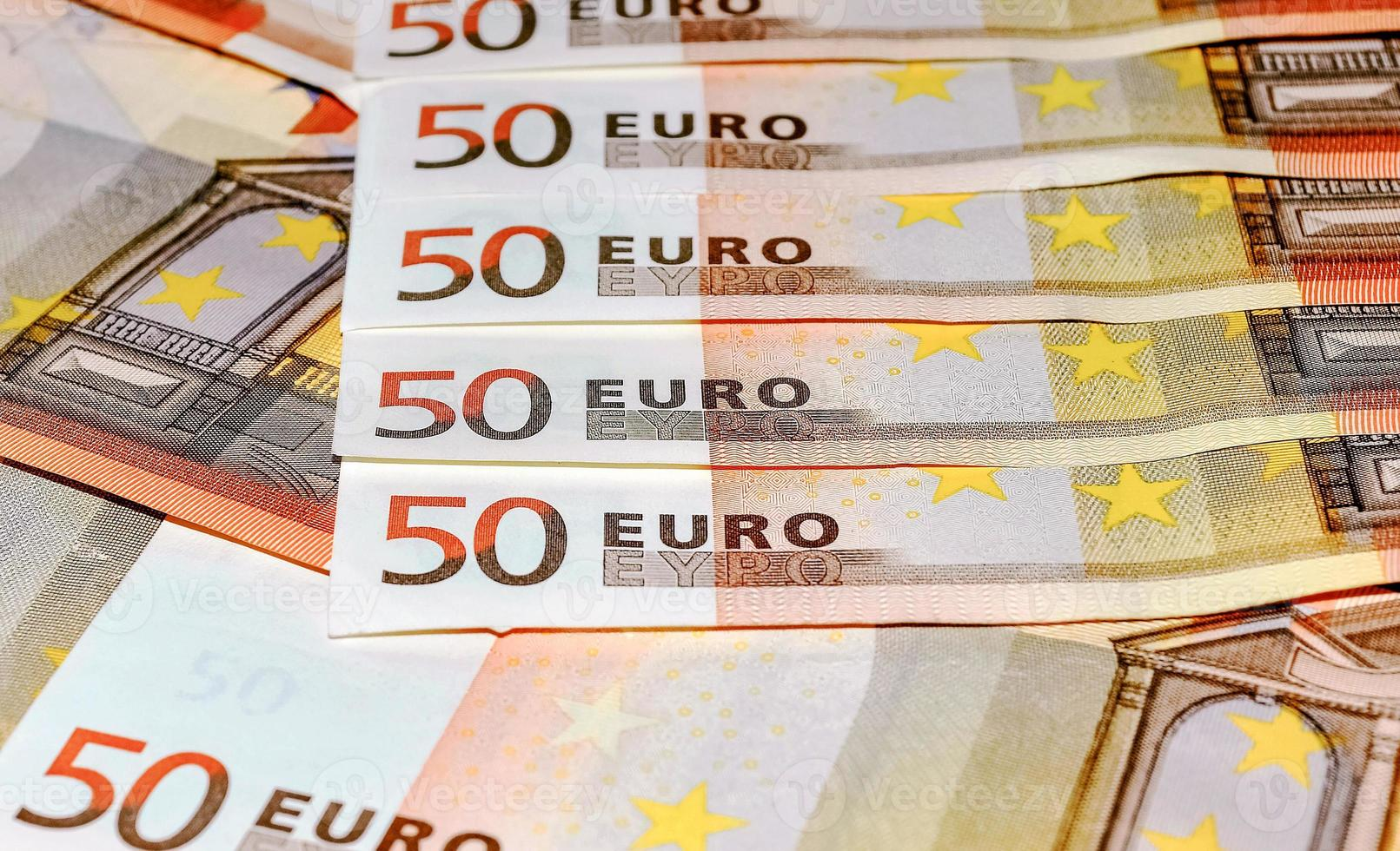 Euro banknotes, fifty, close-up photo