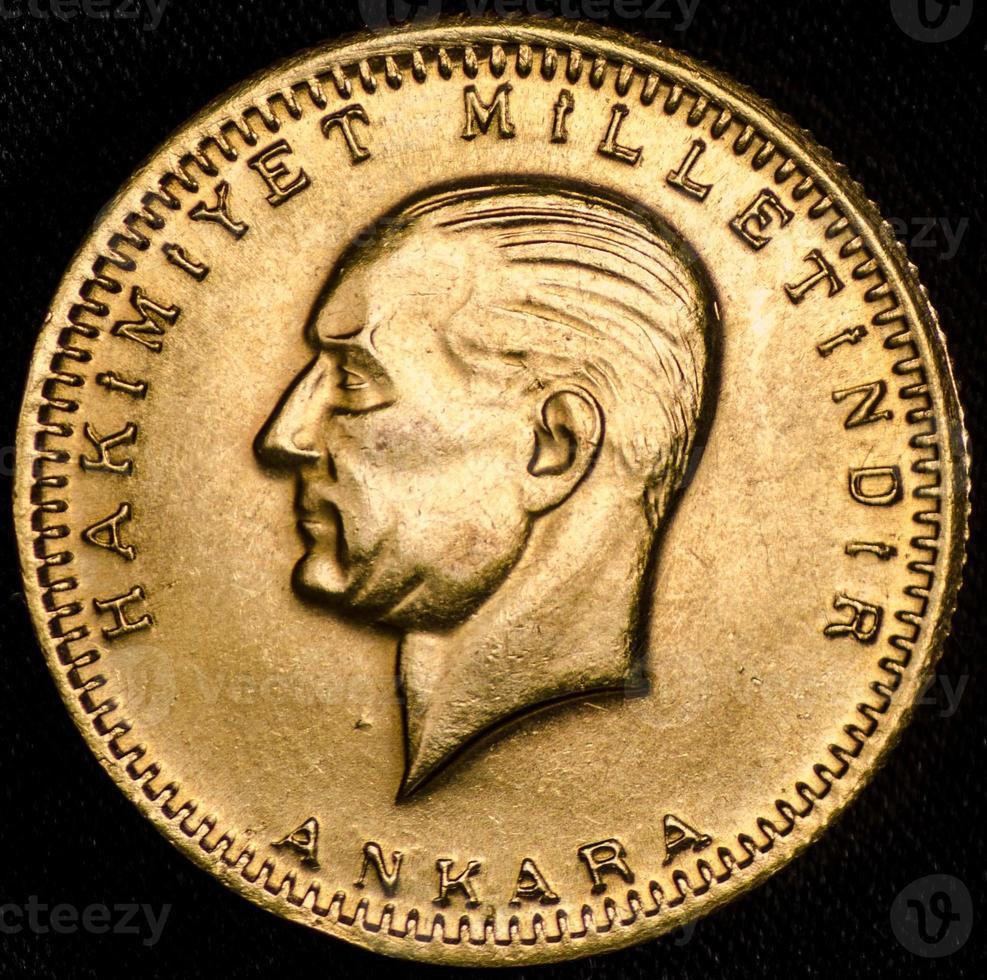 Kurush Ataturk Turkish Gold Coin (Obverse) photo