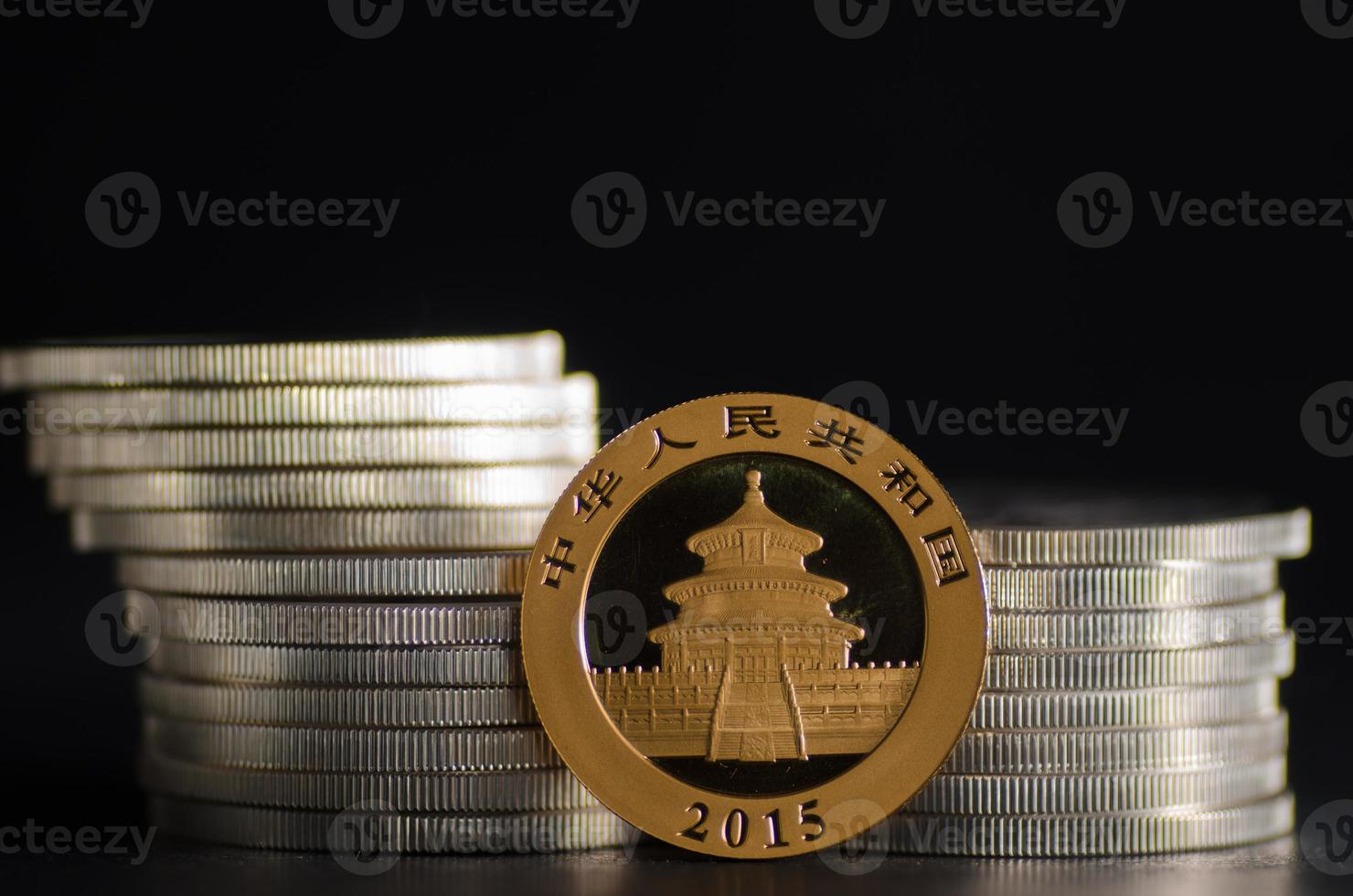 Chinese Gold Panda Coin in front of silver coins photo