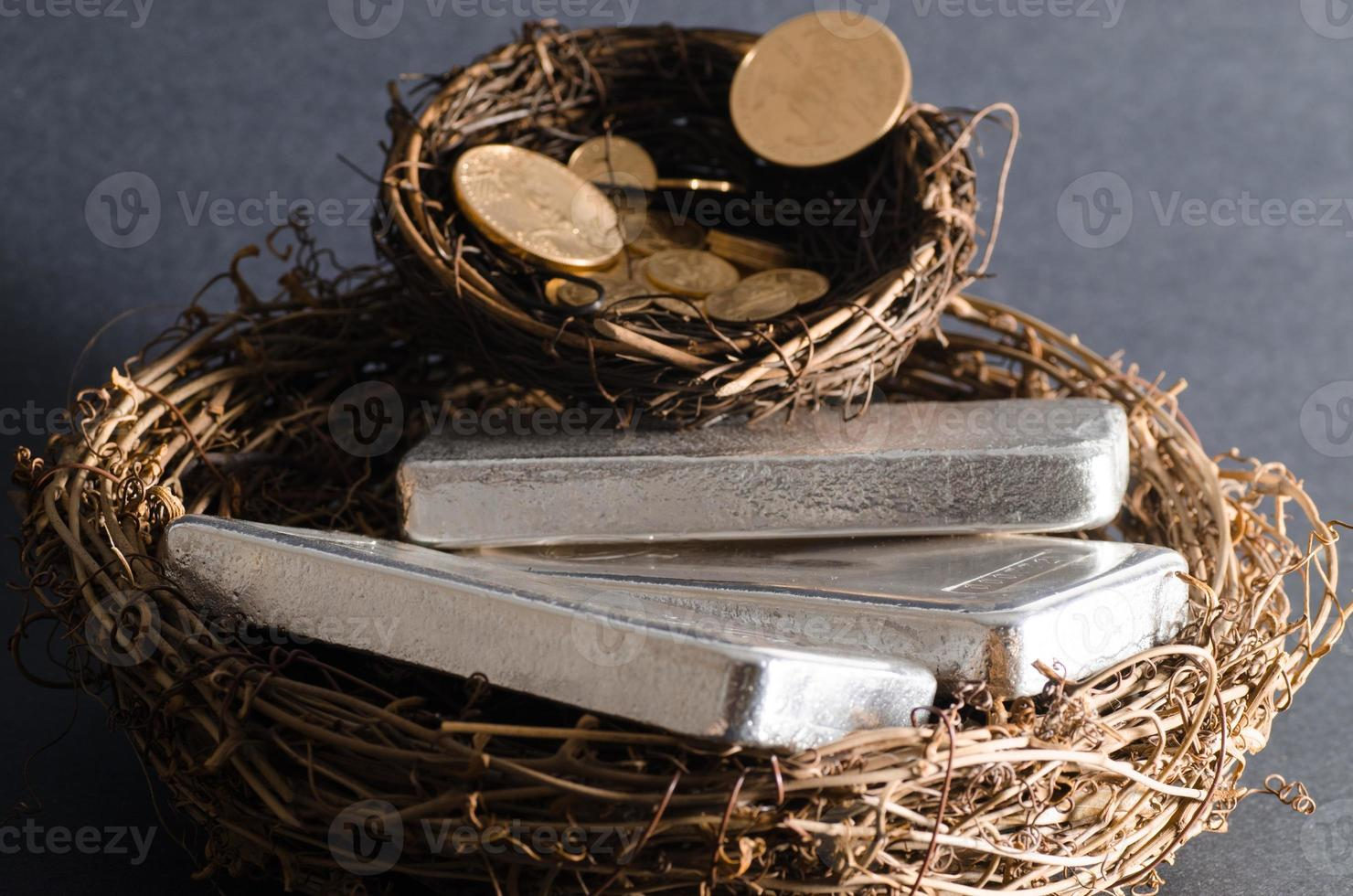 Nest Eggs of Gold Coins & Silver Bars photo