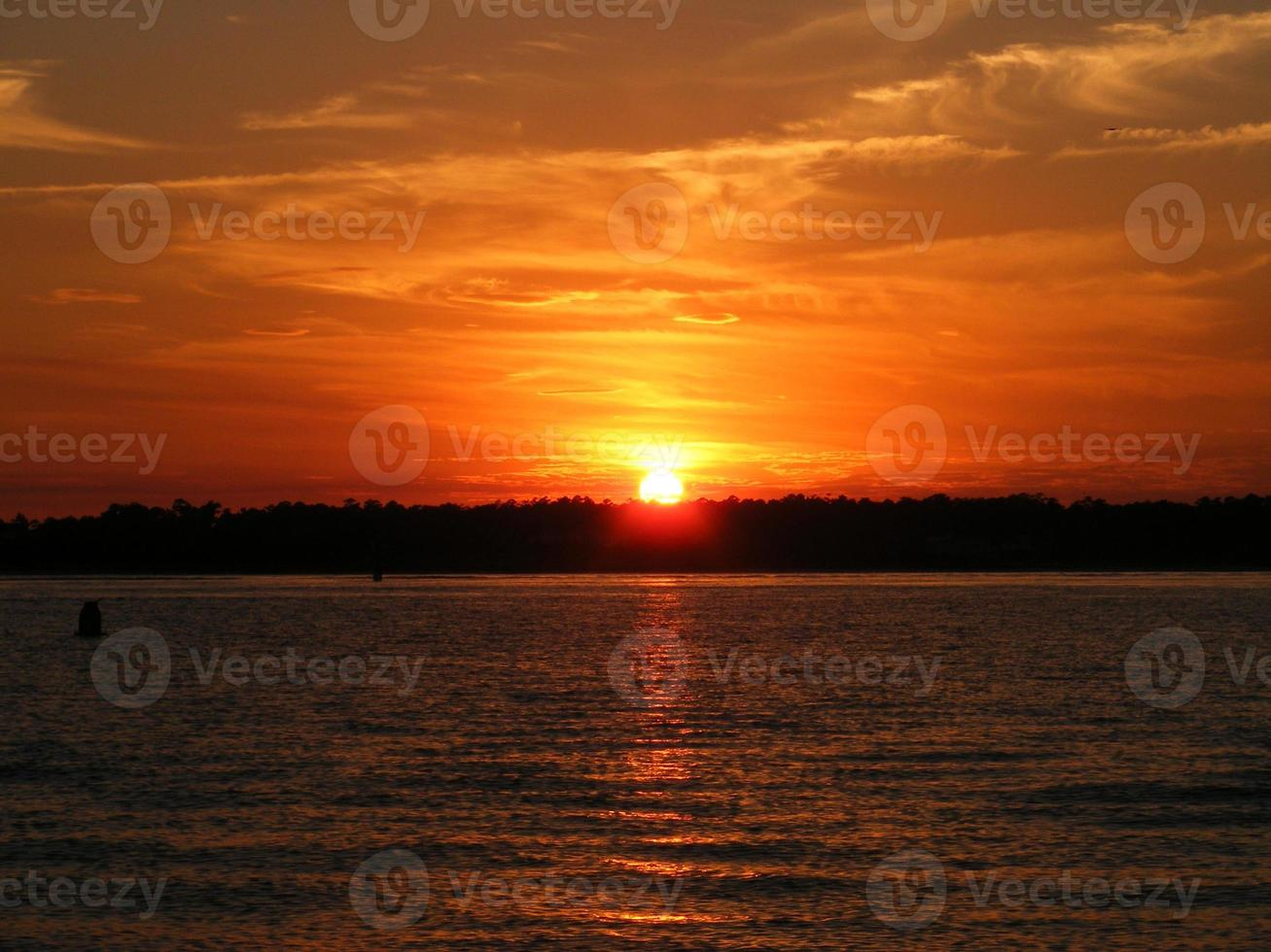Sunset over Banks Channel from Wrightsville Beach, NC USA photo
