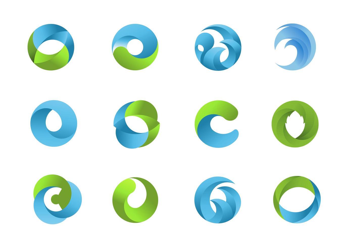 formes de logo circulaire naturel bleu et vert vecteur