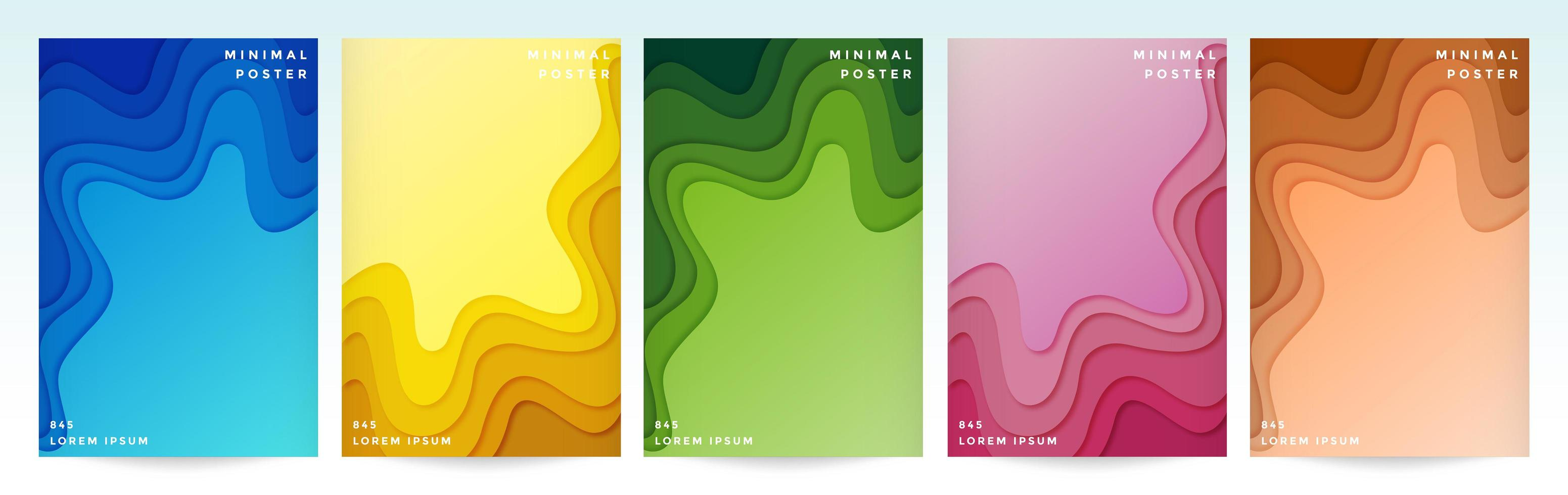Cover set with bright paper cut style wave shapes vector