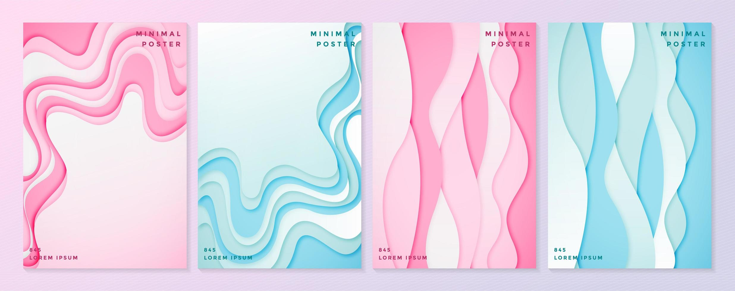 Pink and blue poster templates with wavy paper cut style vector