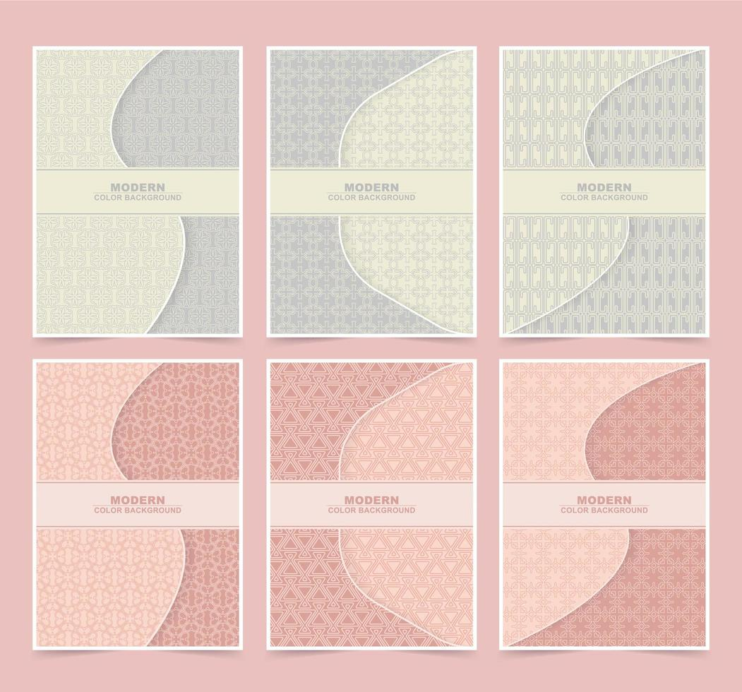 Retro color patterned cover set vector