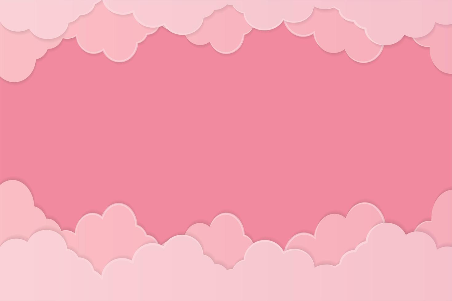 Pink Paper Style Cloud Background vector